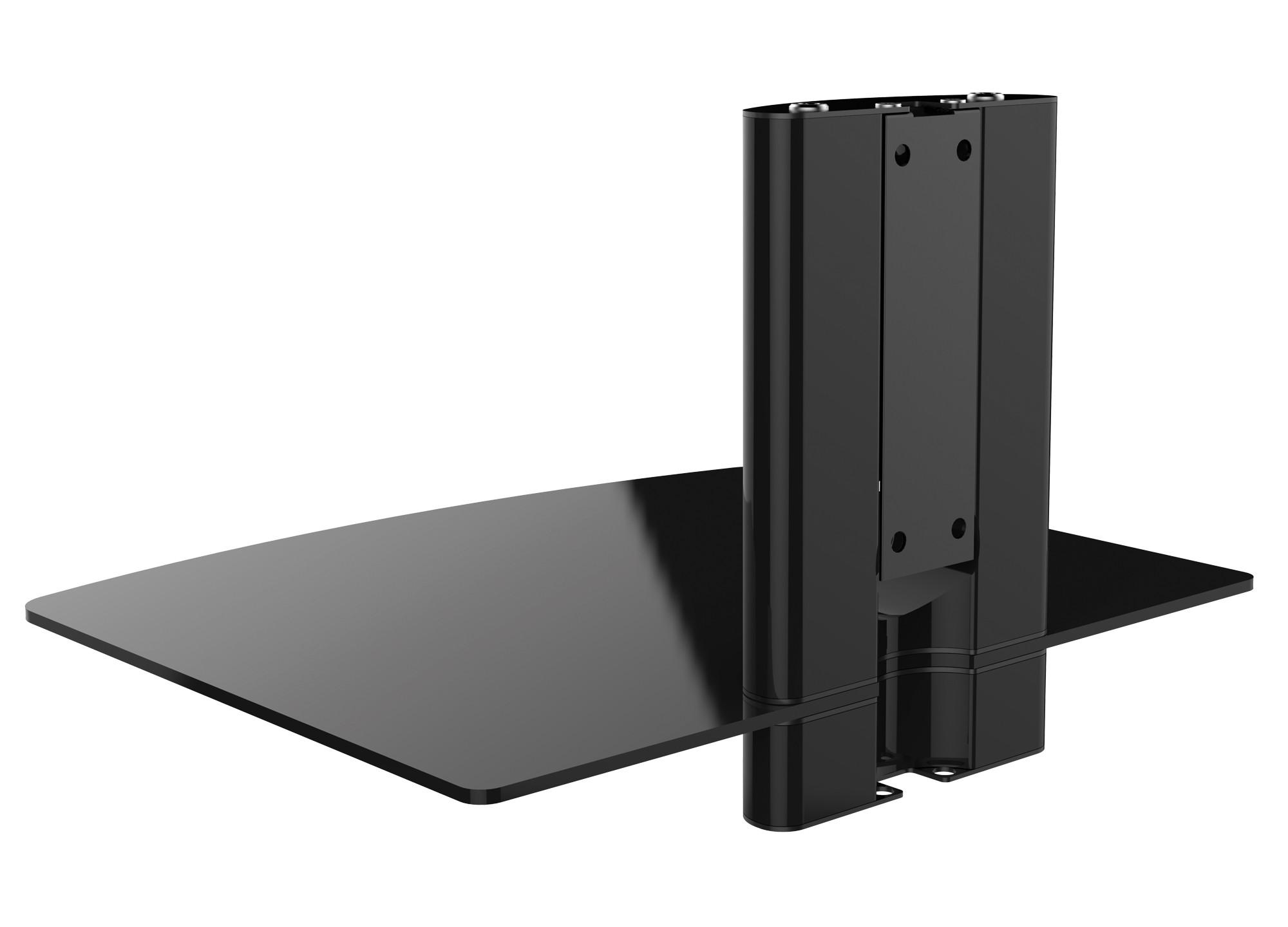 hifi wandregal mit kabelkanal und esg glasablage kaufen. Black Bedroom Furniture Sets. Home Design Ideas